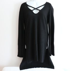 Free People Black Criss Cross Sweater Tunic
